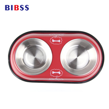 Stainless Steel Double Bowl For Dog Cat Small Pet Food Water Feeder Feeding Puppy Drinking Dish 2 Size
