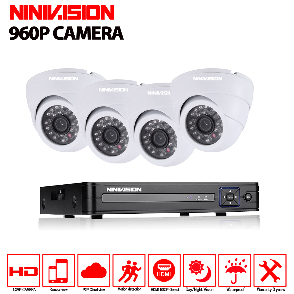 4CH CCTV System AHD CCTV DVR 4PCS 960P 1.3MP IR indoor Security Camera Home Surveillance ...