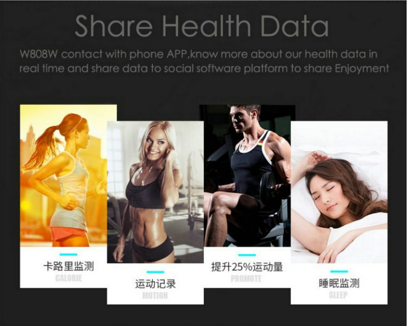 Best fitness bracelet W808S sports bracelet all compatible support heart rate monitor sleep tracker call reminder SMS reminder 5