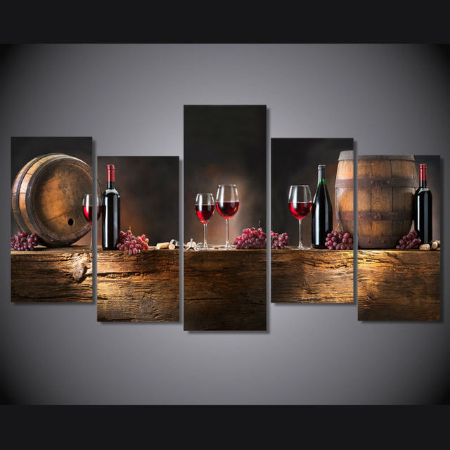5 Piece Canvas Art Wine Grapes Cask Still Life Decorative Pictures Wall Art  Canvas Prints Dining