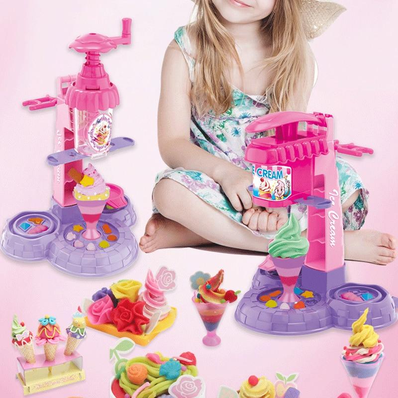 13/16Pcs Ice Cream Machine Clay Mold Tool Set Children Toy Skin Mud Handmade Nontoxic Clay Pretend Play Dough Toys Developmental