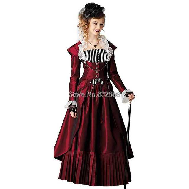 Steampunk Fashion Women Dresses Red Steam Punk Dress H...