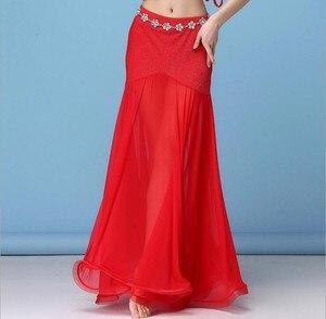 Image 4 - קוריאה כסף רשת בטן ריקוד חצאית נשים ריקודי בטן תלבושות תלבושת שבטי מקסי מלא חצאיות מוצק צבע חצאית שחור XL