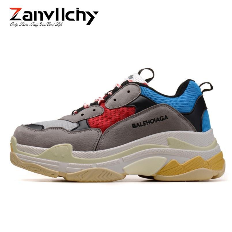 Zanvllchy New 2019 Chunky Men Sneakers Balencia Zapatillas Hombre Triple S Chassures Homme White Dad Shoes Casual Balanciaga