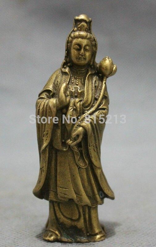 Bi0011694 Chinese Brass Buddhist Lotus Standing Kwan-yin GuanYin Buddha Goddess Statue