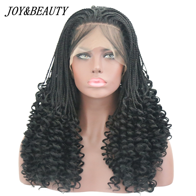 JOY&BEAUTY Black Handmade braids Long Curly Synthetic Lace ...