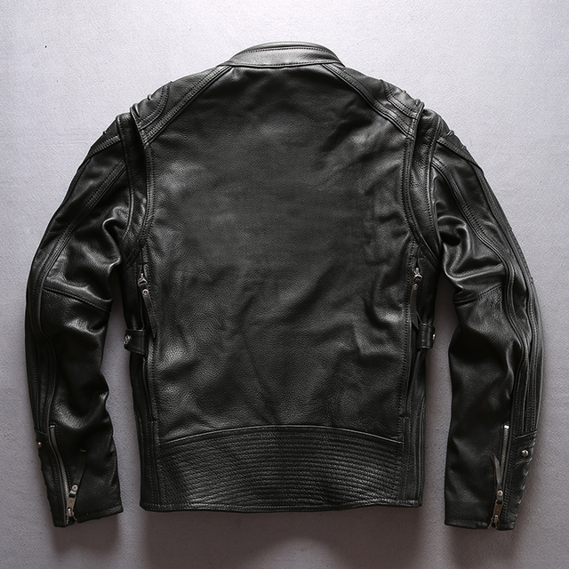 european big size high quality super genuine cow leather motor rider jacket mens big size cowhide leather jacket