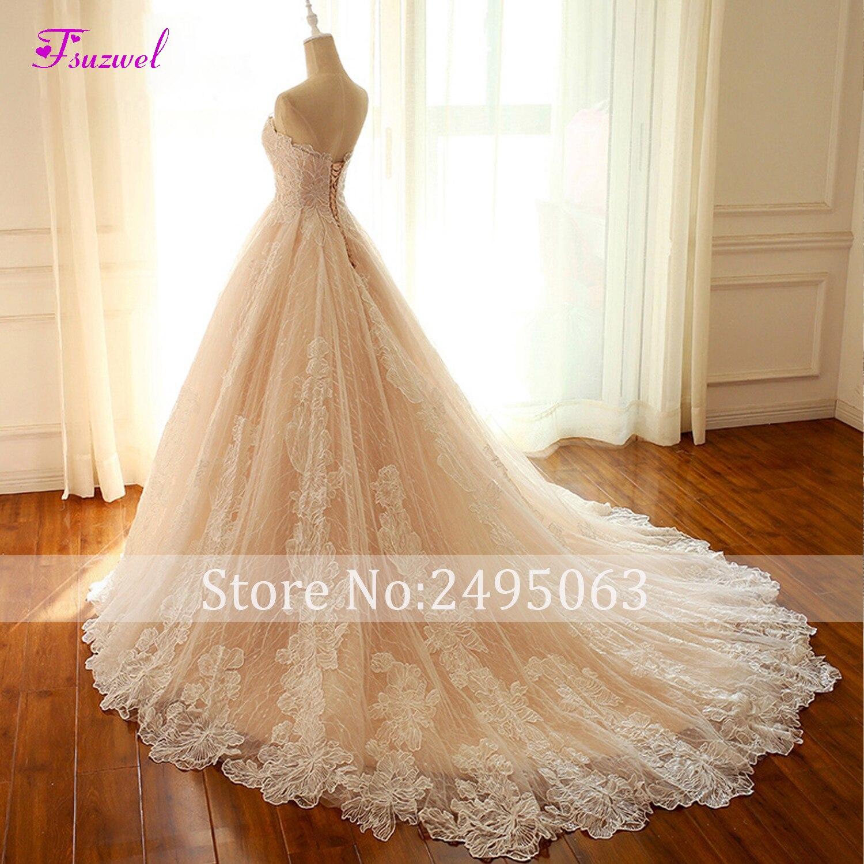 Fsuzwel New Arrival Romantic Strapless Lace Up A Line Wedding Dresses 2019 Graceful Appliques Lace Wedding