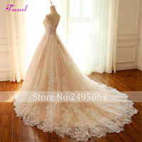 Fsuzwel New Arrival Romantic Strapless Lace Up A-Line Wedding Dresses 2019 Graceful Appliques Lace Wedding Gown Vestido de Noiva