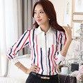 Chegada nova Lady Chiffon Blusas Listradas Plus Size S-3XL Babados Collar Coreano Moda Estilo Casual Mulheres de Carreira Camisas