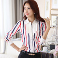 New Arrival Lady Chiffon Striped Blouses Plus Size S-3XL Ruffled Collar Korean Fashion Style Women Casual Career Shirts