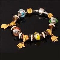European Brand Pan Diy Jewelry Charms Bracelet For Women 18K Gold Plated Rhinestone Crystal Glass Beads