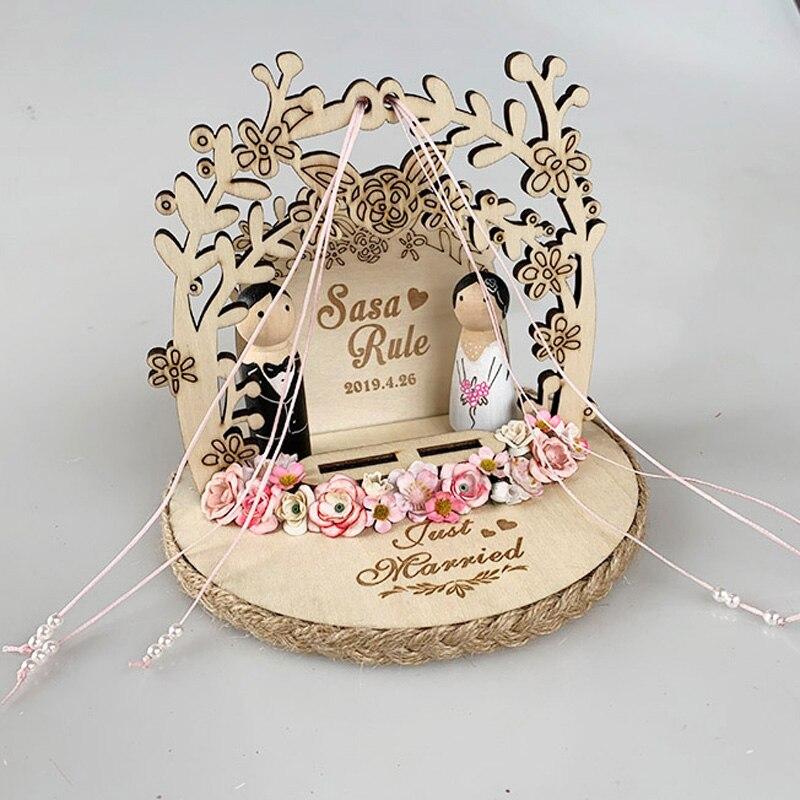 1 pièces unique anneaux de fiançailles titulaire mariée marié en bois rustique fleur anneau oreiller mariage anneau boîte