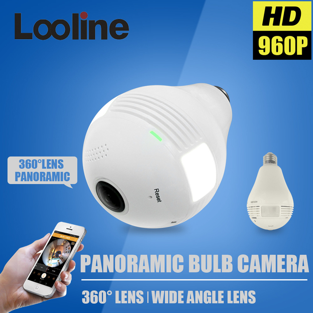 1.3MP 360 Degree WIFI Camera Wireless IP Camera Wi-Fi Bulb Lamp Fisheye Panoramic Surveillance Security Camera Motion Detection