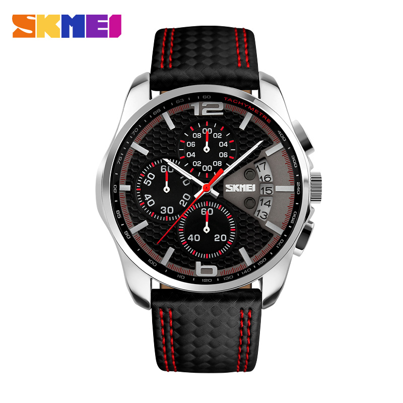 SKMEI Menn Chronograph Watch Menn Sport Watch Leather Strap Quartz-Watch 5ATM Vanntett Dato Herreklokke Relogio Masculino