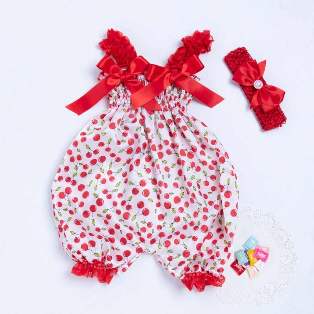 Новорожденный ребенок малыш Мальчики Девочки Фрукты печати комбинезон красный бант + Modis повязка на голову комплект одежды детская одежда 2019