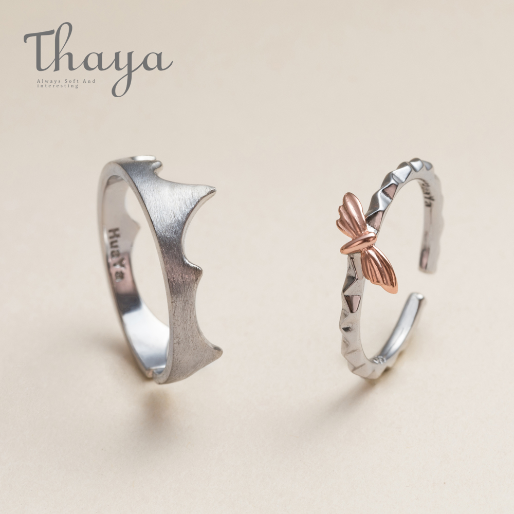 Thaya Rose Gold Exquisite Moth Fire Edge Circle Rings 925 Sterling Silver Frosted Ring Engagement Jewelry For Women