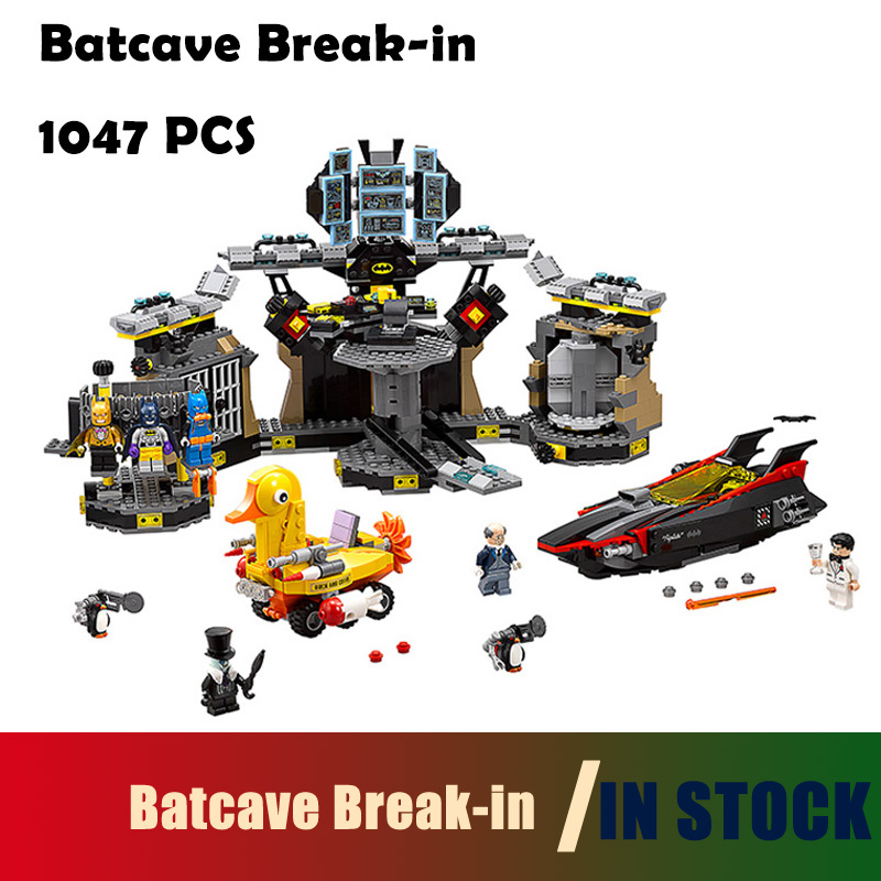 Compatible with Lego super heroes batman 70909 07052 movie blocks Batcave Break-in toys for children building blocks building blocks super heroes back to the future doc brown and marty mcfly with skateboard wolverine toys for children gift kf197
