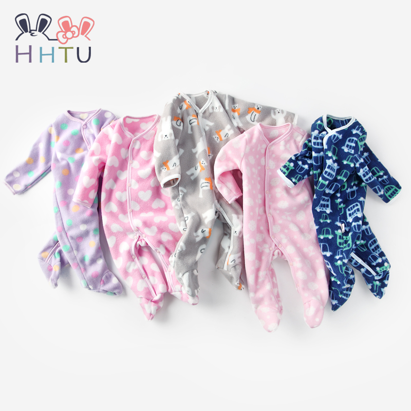 HHTU Baby Rompers for Newborn Boys Girls Winter Autumn Warm Fleece Clothing Cartoon Infant Girls Clothes Baby Jumpsuit Pajamas free shipping winter newborn infant baby clothes baby boys girls thick warm cartoon animal hoodie rompers jumpsuit outfit yl