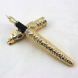 Nueva pluma estilográfica de leopardo guepardo de Metal completo dorado, pluma de regalo de escritura avanzada exquisita de lujo para oficina de negocios