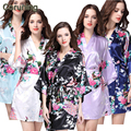 RB012  2015 Summer Short Style Women Floral Printed Silk Robes Wedding Bridesmaid Robes Plus Size Women Nightgown 14 Colors