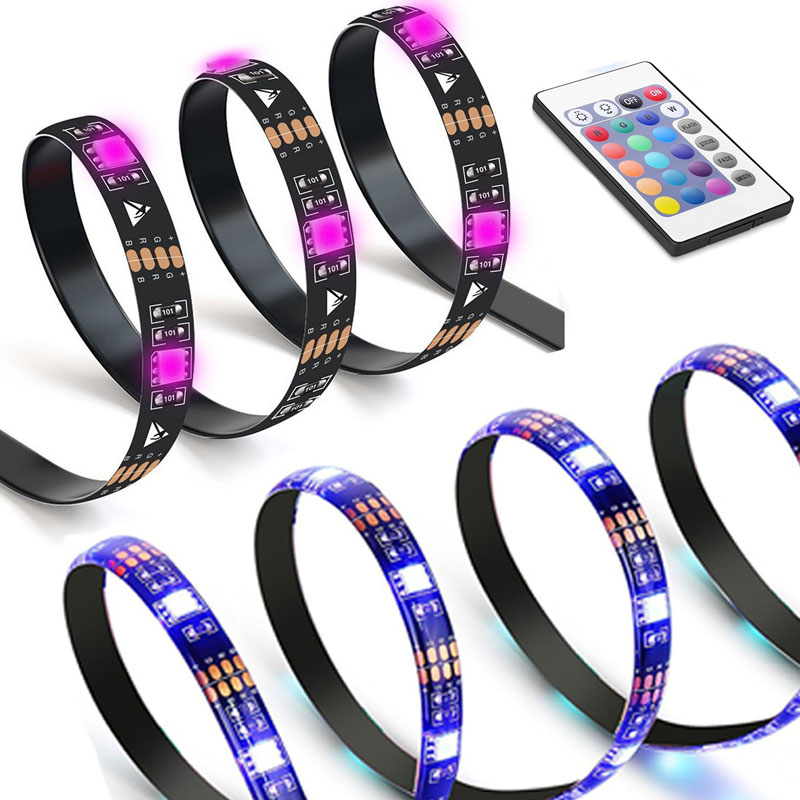LED TV Backlight Bias Lighting Kits for HDTV USB Powered 2 RGB Multi Color Led Light Strip with Remote Control