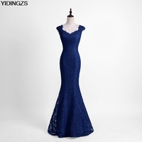 YIDINGZS Elegant Beads Lace Mermaid Bridesmaid Dress 2017 Slim Wine Red Wedding Party Dress