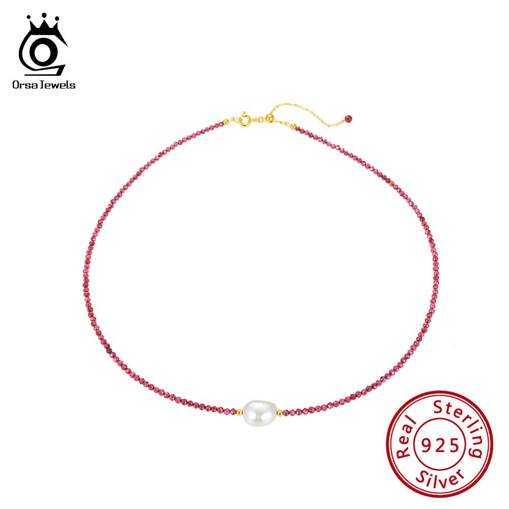 ORSA JEWELS 925 Silver Vintage Choker Women Necklace Natural Stone Garnet Small Beads Freshwater Pearl Choker Jewelry OSN157