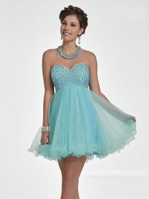 57867e110 Cielo Azul Vestidos de Fiesta de Cóctel Corto Prom Vestidos Cuentas de Alta  Vestido Del Partido