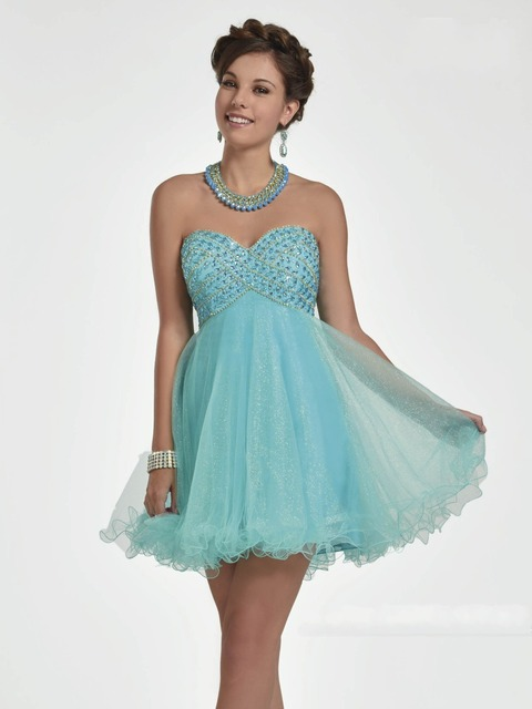 8b7af7fb6ff Sky Blue Homecoming Dresses Short Cocktail Prom Dresses Beads High School  University 15 Years Party Gown