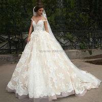 Luxury Lace Ball Gown Wedding Dress Off Shoulder Princess Arabic Muslim Arab Bride Bridal Dress Gown Weddingdress Custom made
