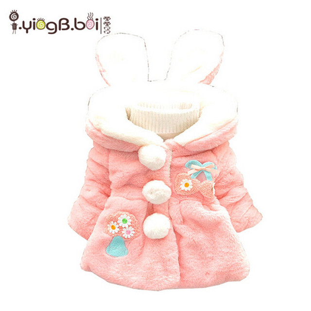Winter warm cute Children Cotton Thick cartoon printing Coats Girls Hooded fashion style clothes