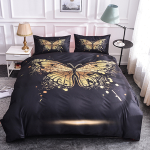 Boniu Golden Butterfly Pattern Bedding Set for Girl 2/3pcs Duvet Cover/Quilt Cover with Pillow Cases Bed Set Bohemian Bedclothes