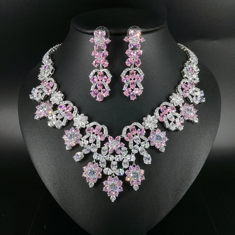 2018 новые модные роскошные элегантные романтичный розовый цветок циркон колье, свадьбы невеста ужин вечерние торжественное платье для торжеств ювелирные изделия