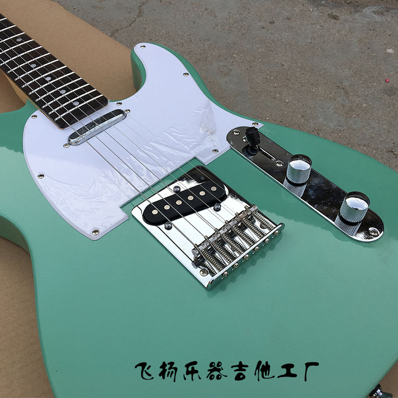 buy ameican standard electric guitar light green tele 6 string basswood built. Black Bedroom Furniture Sets. Home Design Ideas