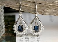 Sapphire stud earring Free sipping Natural real sapphire 925 silver Gem size 4*6mm