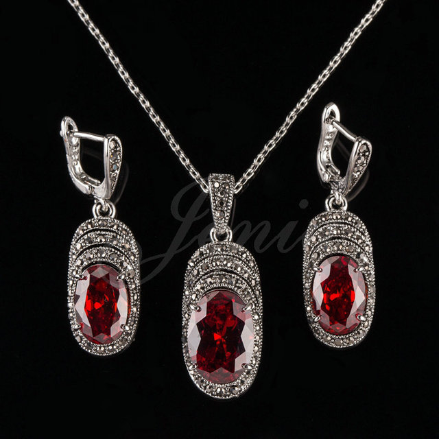 a32b3102b5e15 US $15.74  Jenia Antique Silver Color Red Zirconia Marcasite Jewelry Set  High Quality Pendant Necklace and Earring Women Sets XS198-in Jewelry Sets  ...