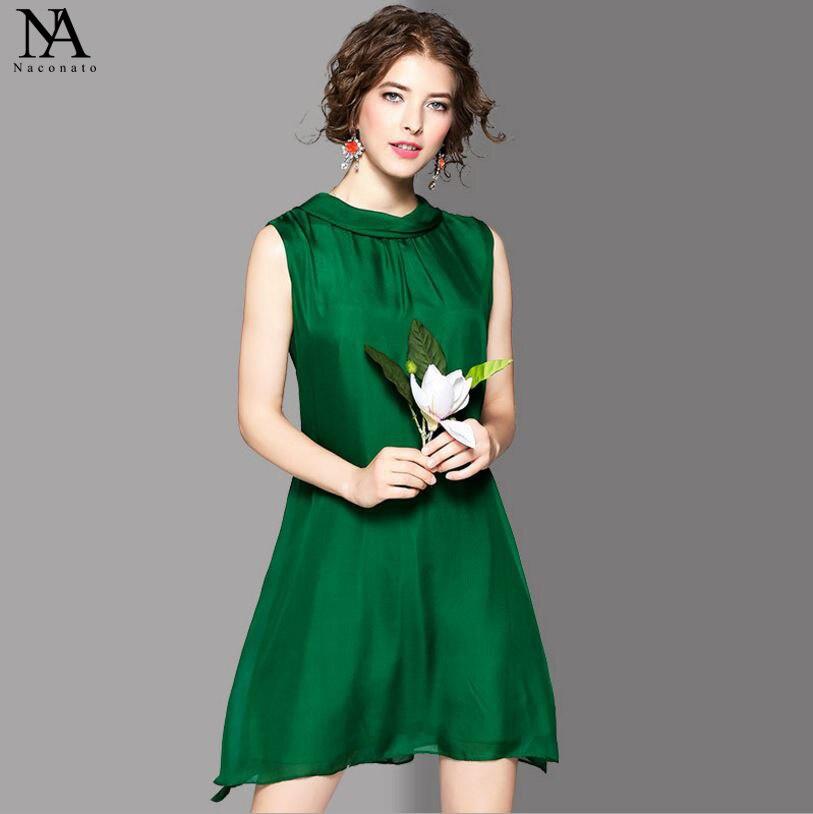 Новое поступление 100% шелк 2018 Женская О образным вырезом без рукавов Свободные Дизайн Бант высокой уличный стиль короткие платья