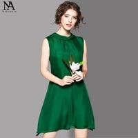 New Arrival 100% Silk 2018 Women's O Neck Sleeveless Loose Design Bow Detailing High Street Fashion Short Dresses