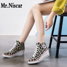 Leopard Wedge Heels 2019 Fashion Korean Canvas Shoes Women H