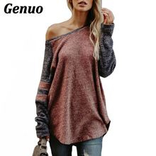 Genuo Women Striped Patchwork T-Shirt Color Block Long Sleeve Sexy Slash Neck Tee Tops Casaul Loose Knitwear Pullover Plus Size long sleeves striped pullover knitwear
