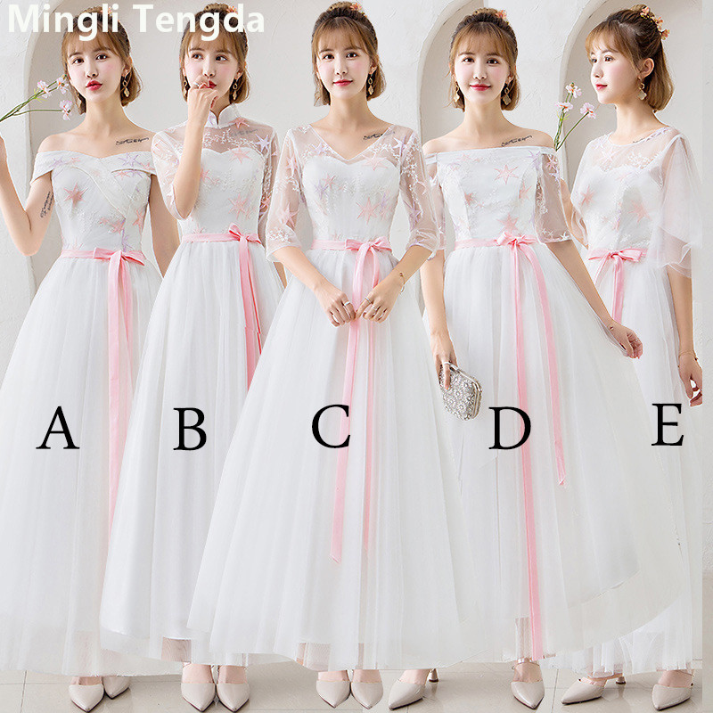 Mingli Tengda 2018 New Off Shoulder Sleeveless Long   Dress   for Wedding Party Elegant Simple Lace Sisters Group   Bridesmaid     Dresses