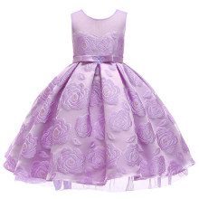 2018 girl elegant rose jacquard princess dress, childrens birthday party European kids dance costumes