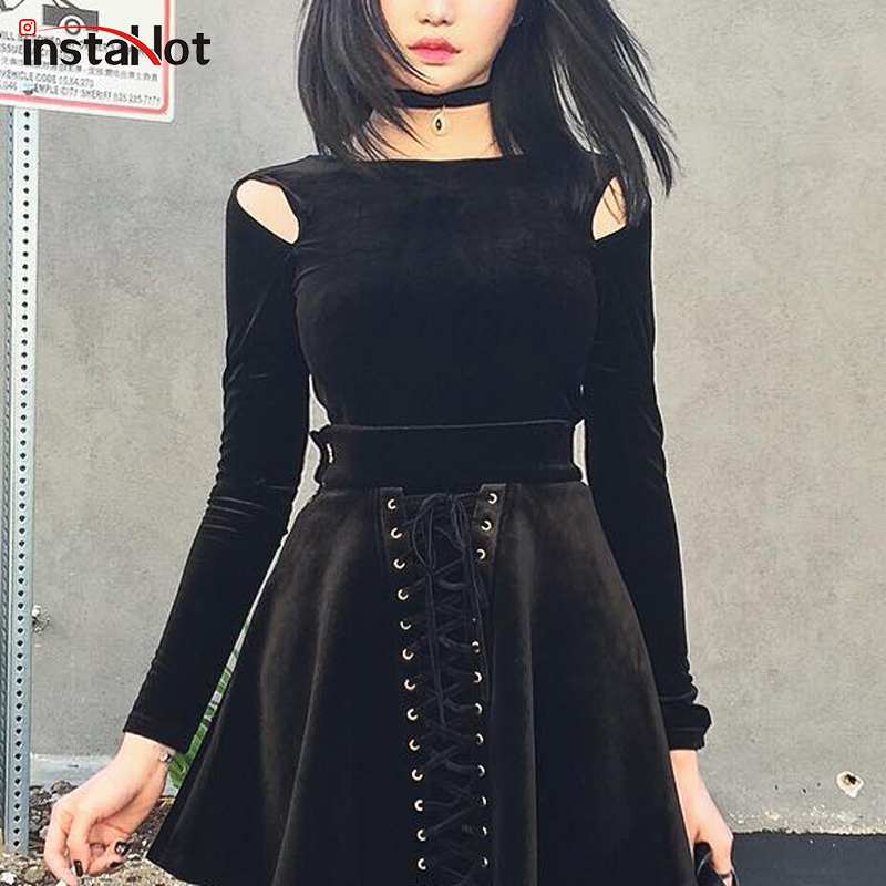 InstaHot Velvet Cold Shoulder Gothic T Shirts Women Long Sleeve Autumn Punk Pullover Tops Female Soft Black Streetwear Solid Top