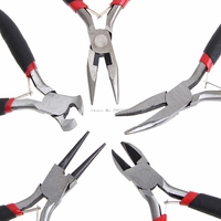 5Pcs Mini Jewelry Chain Round Bent Nose Plier Cutter Beading Tool Repair Kit B119