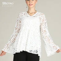SBetro Lace Women Blouse V Neck Shirts White Long Bell Sleeve Fashion Plus size Party Ladies Tunic Tops Blouses