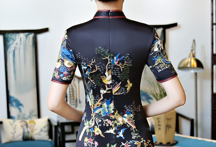 Traditional Chinese Costume Lady Silk Dress Women Mini Cheongsam Size S 2XL in Cheongsams from Novelty Special Use