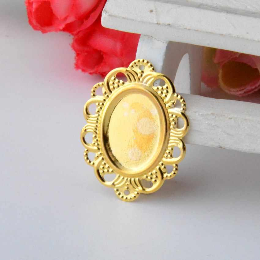 Free shipping 30Pcs Gold Plated Filigree Cabochon Setting Wraps Connectors Crafts Decoration DIY Embellishments 32x24mm F0837