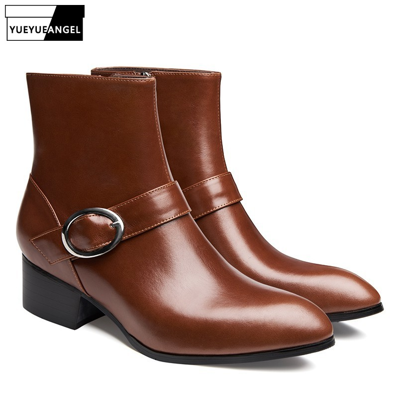 Winter Boots Men Pointed Toe Zipper Genuine Leather Ankle Shoes Male Brand Fashion Black Brown Business High Heel Dress BootsWinter Boots Men Pointed Toe Zipper Genuine Leather Ankle Shoes Male Brand Fashion Black Brown Business High Heel Dress Boots