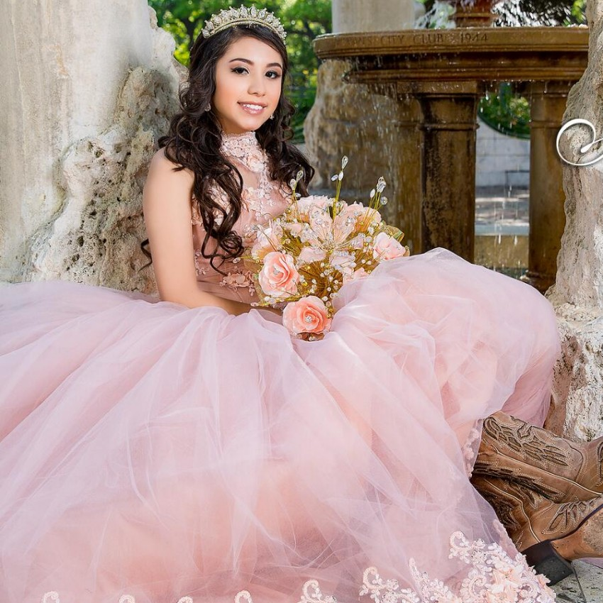 Long Ball Gown Quinceanera Dresses 3D Flowers Sweet 16 Years For 15 Year Birthday Party Gowns Vestido De 15 Anos